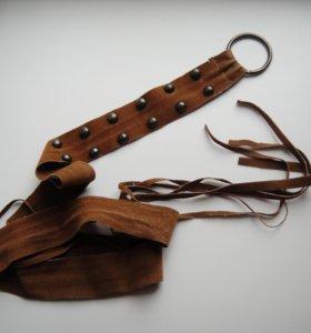 Ремень кожаный с заклепками.
