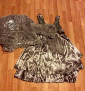 Шелковое платье,вышитое стразами сваровски