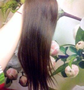 Волосы натуральные,хвост,коричневый