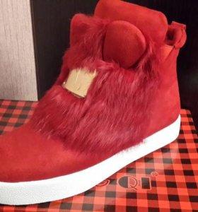 Зимние ботиночки с ушками кролик