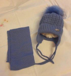 Шапка детская с шарфом
