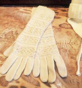 Перчатки ,шапка ,пуховик платье