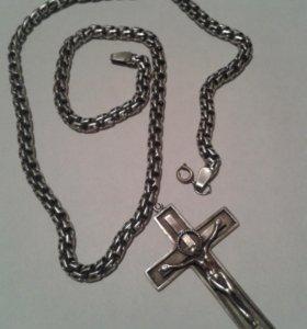 Крест и цепочка серебро