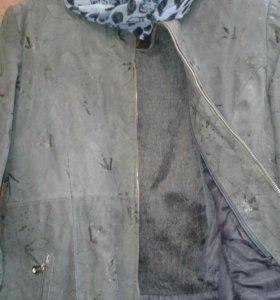 Пальто-куртка зима кожа под замшу