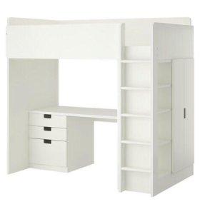 Кровать чердак, стол шкаф ящики полки- все в одном