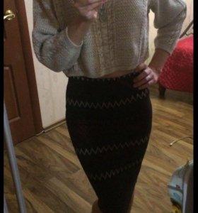 Укороченный свитер+юбка миди