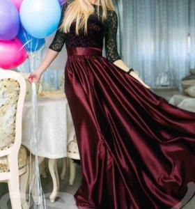 Платье в пол новое с атласной юбкой