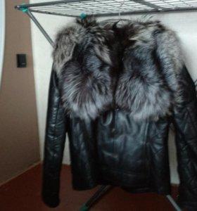 Куртка кожаная мех чернобурка