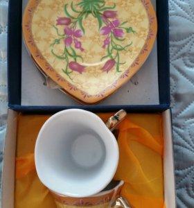 Кофейный набор в виде сердца,новый