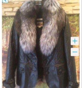 Кожаная куртка с мехом писец