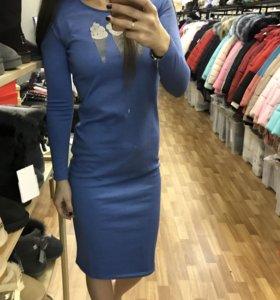 Платье джерси голубое