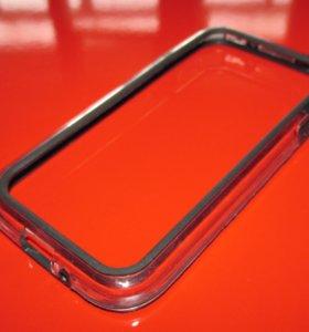 Силиконовый чёрный бампер на Samsung Galaxy S4
