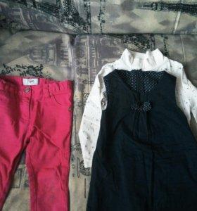Джинсы+ водолазка+платье на 2-3 года