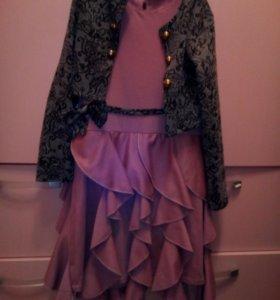 Платье с жакетом,рост 134