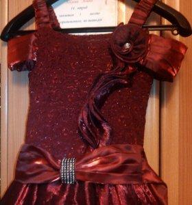 Платье+подъюбник+перчкатки в комплекте