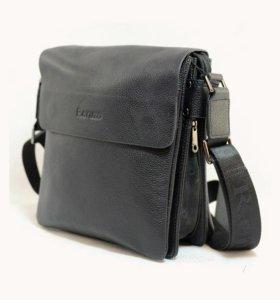 Кожаная мужская сумка планшет на ремне