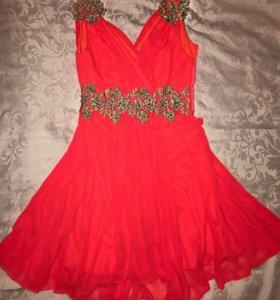 Платье красное вечернее коктейльное