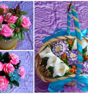 Композиции цветов из мыла