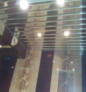 Реечный потолок хром за 1 день