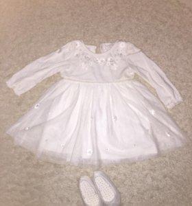 Платье детское NEXT. Размер 9-12 месяцев. 74-80см.