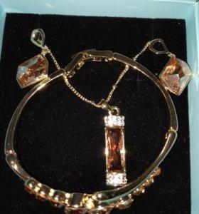 Серьги, браслет, цепочка с кулоном. Цвет коньяк