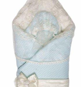 Конверт зимний для мальчика с шапочкой и с чехлом