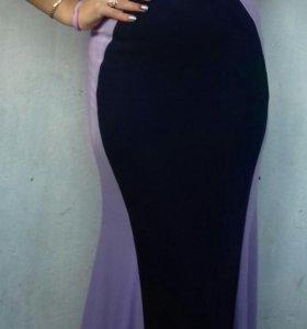Платья в пол(вставки голубого цвета)