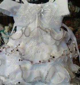 Готовое платье снежинки 2-3года