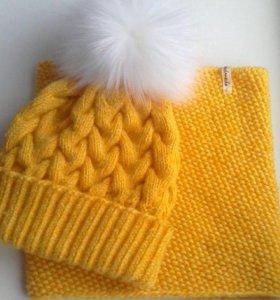 Комплект жёлтый (шапка и снуд)