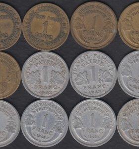 Франция 1 франк 1922-1950 12 монет