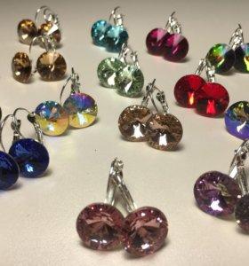 Сваровски серьги с кристаллами