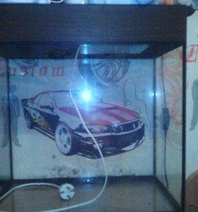 30 литровый Аквариум с лампой.