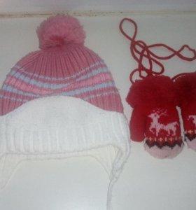 Зимние шапочка и варежки.