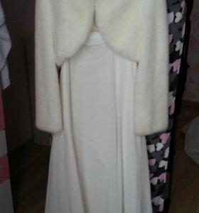 Свадебное платье+шубка+туфли