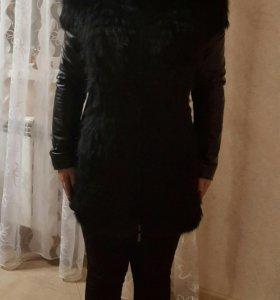 Кожаная зимняя куртка с мехом лисы LA REINE BLANCH