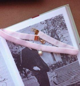 Чокер из розового бархата