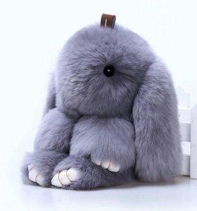 Меховой брелок-кролик.натуральный мех