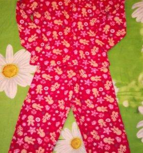 Тёплая фланелевая пижама на 7-8 лет