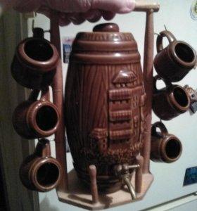 Настоящий керамический пивной бочонок с кружечками