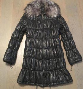 Кожаное зимнее утепленное пальто