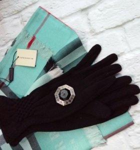 Набор (перчатки на флисе + бирюзовый палантин)