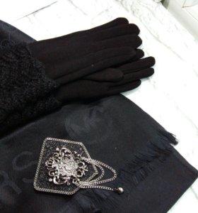 Черный набор (перчатки на флисе + палантин)