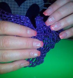Наращивание ногтей гелем.
