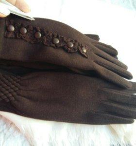 Коричневый набор (перчатки на флисе + палантин)