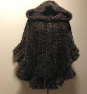 Пончо из вязаной норки с рюшами ГМ🌺
