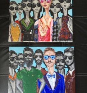 "Картины ""Fashion"" (холст 35x45) цена за две работы"