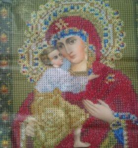 Икона Божией Матери стразами