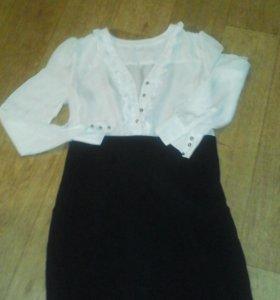 Платье бело-чергое 46-48