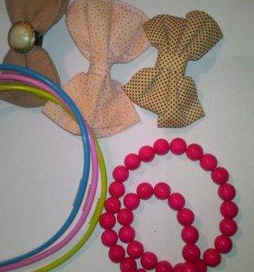 Детские украшения , ободки, бусы , бантики-заколки