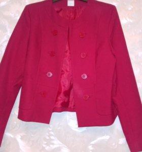 Пиджак красный бу Camaieu  р50.